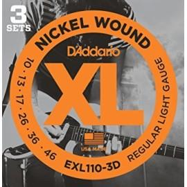 EXL110-3D Regular Light Electric Guitar Strings, Triple Pack