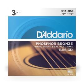 EJ16 3D 3Pack Phosphor Bronze Light Acoustic Strings .012-.053