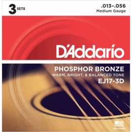 EJ17-3D 3PK Phosphor Bronze Medium Acoustic Strings .013-.056