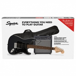 Squier Affinity Stratocaster HSS Electric Guitar Pack LRL, Charcoal Frost Metallic