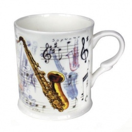 Saxaphone Design Bone China Mug