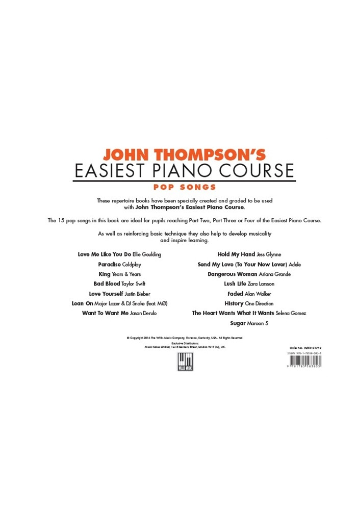 JOHN THOMPSON'S EASIEST PIANO COURSE: POP SONGS | JOHN THOMPSON'S EPC |  SAVINS MUSIC CENTRE